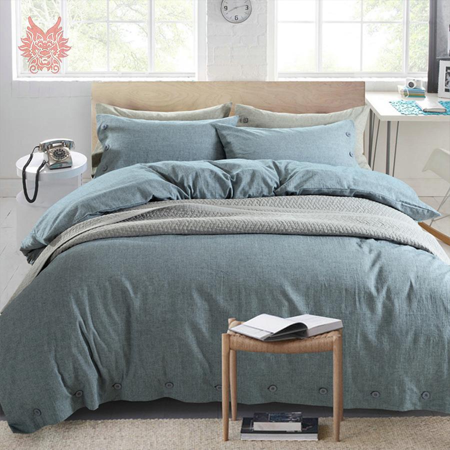 buy blue pink solid capa de edredon set linen cotton breathable bedding sets. Black Bedroom Furniture Sets. Home Design Ideas