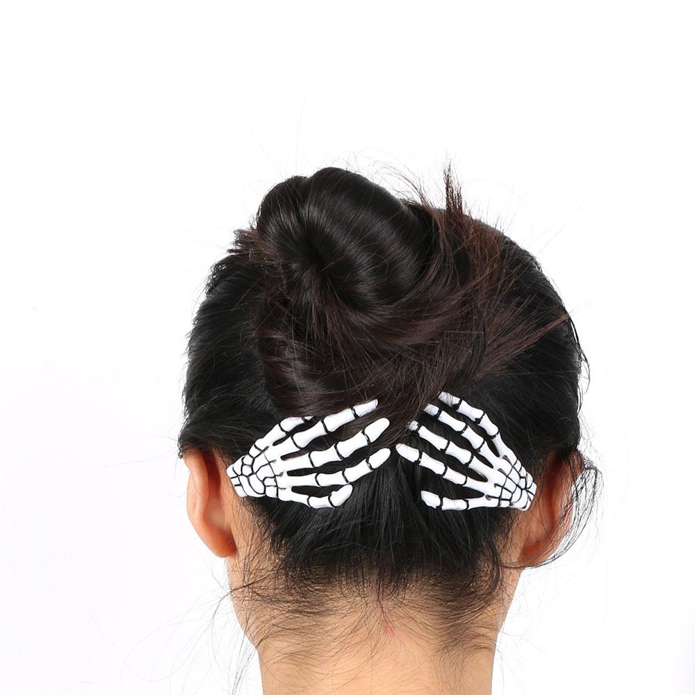 1 pair Fashion Hair Accessories Skeleton Claws Skull Hand Hair Clip Hairpin Zombie Punk Horror Bobby Pin Barrette Women hair