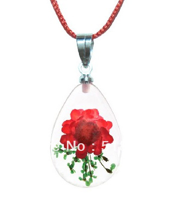 Real Flower Clear Resin Necklace Pendant Fashion Jewelry ,Promotion Gifts Souvenir Birthday Gift - LOTUS INCENSE WAY store