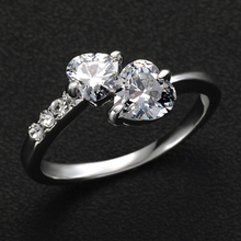 Buy 17KM 2/Color hot New Design Fashion double heart Rose Gold Color Zircon Austrian Crystal wedding Rings jewelry for $1.29 in AliExpress store