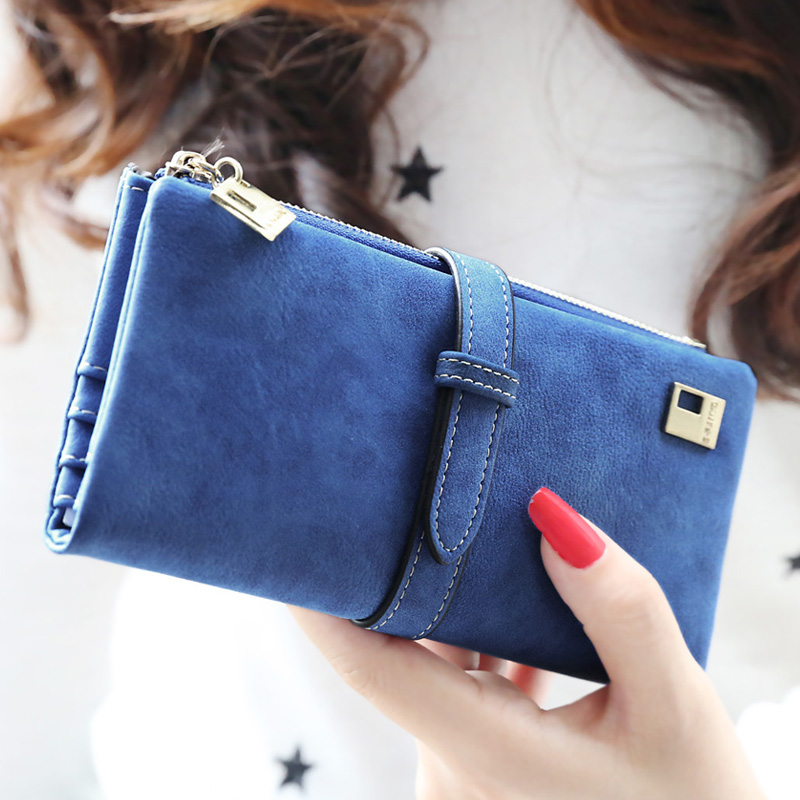 Women Wallet Luxury Matte PU Female Leather Card Wallet Long Zipper Soft Fashion Ladies Long Day Clutch Coin Purse Card Holder(China (Mainland))