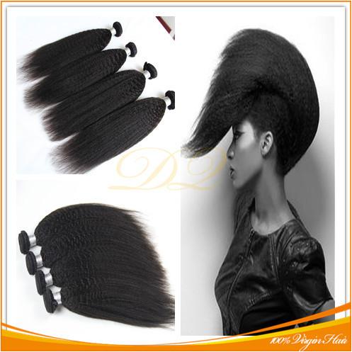 Grade 6A+ Unprocessed Instock Weave Brazilian Kinky Straight Hair Extension 3pcs/lot Coarse Yaki Virgin Hair Light Yaki straight(China (Mainland))