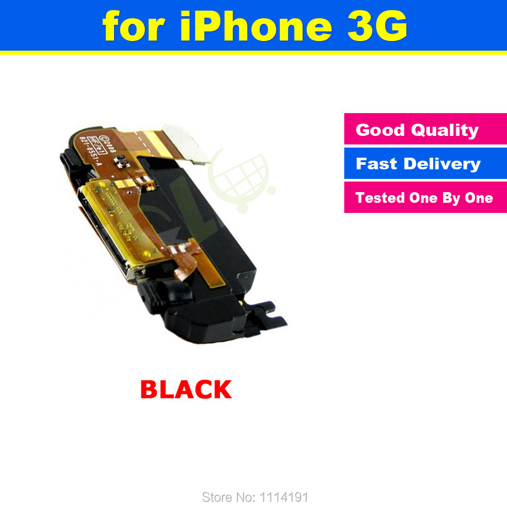 FREE SHIPPING BLACK Charger Charging Dock Port Connector Flex Antenna Speaker Microphone Assembly For iPhone 3G(China (Mainland))