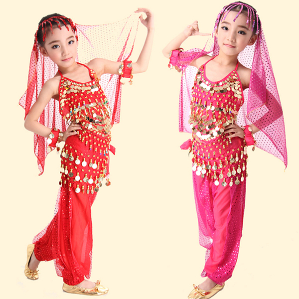 2015 New arrivals S/M/L/XL cheap children belly dance costume 5 pcs/set on sale NMMG07(China (Mainland))