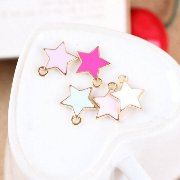 Gold Tone Alloy Oil Drop Stars Charms DIY Jewelry Floating Charm Enamel Bracelet Necklace Garment Bag Shoes Decoration Charm(China (Mainland))