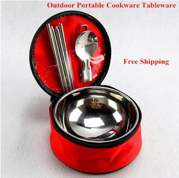 Wholesale And Retail Stainless Steel Portable ANAFIM Outdoor Camping cookware tableware chopsticks spoon bowl Gifts OEM(China (Mainland))