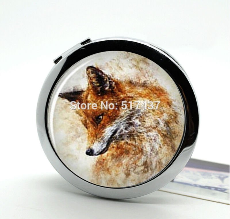 New Arrival Fox Compact Mirror Silver Bronze Copper Metal Pocket Mirror Cute Compact Mirror(China (Mainland))