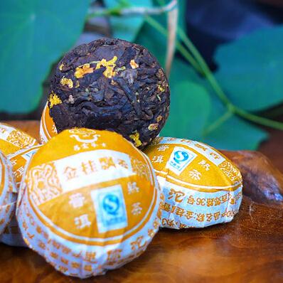 Free Shipping 2pcs Osmanthus Puerh tea Chinese Mini Yunnan Puer Tea Green Slimming Coffee