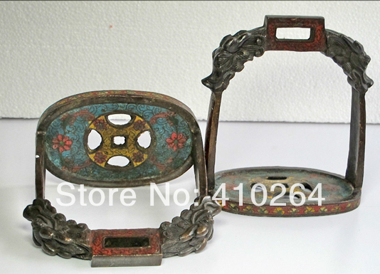 $Nice Discount$ China red Copper Cloisonne Coin shape dragon carving stirrup horse saddle(China (Mainland))