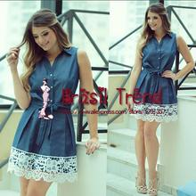 Women Summer Style Dress 2015 Fashion Vestidos Strap Dress V-Neck Sleeveless Denim color Lace Dress Brasil Trend(China (Mainland))