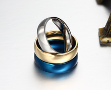 Promotion 18K gold plated ring wedding rings for men women stainless steel couple jewelry wholesale