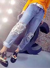 Europe New Heavy Metal Sequins Hole All match Beaded Slim Straight patchwork fashion women shinning pattern women jeans