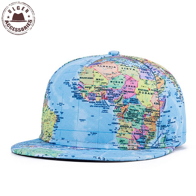 2016 Super Popular Globes Print Hats Sport Style Hip Hop Baseball Caps World Map Casual Snapback Cap Men(China (Mainland))