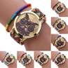 Women s Glasses Cat Dial Knitted Band Quartz Wrist Watch Weave Rope Bracelet 4KMT
