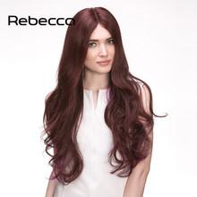 "Rebecca 100% Brazilian Virgin Hair Long Wavy Human Wigs 26"" Aliexpress UK Hand Tied Lace Top Middle Part Comfortable Women's Wig(China (Mainland))"