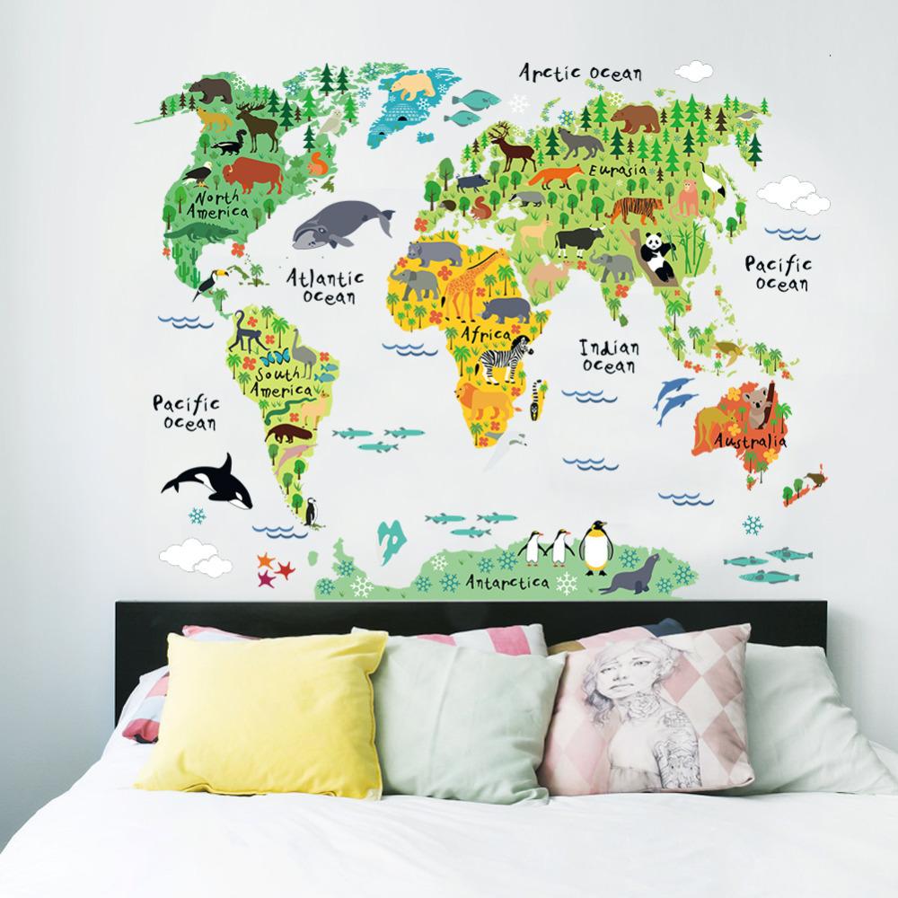 Mapa do mundo de animais adesivos de parede de decora o for Decalque mural