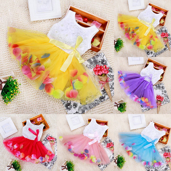 Гаджет  Toddler Baby Kid Girls Princess Party Tutu Lace Bow Flower Dresses Clothes Freeshipping None Детские товары