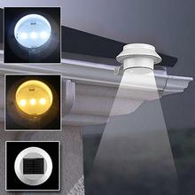 Haute qualité IP44 3 LEDs lumière de jardin clôture cour mur Gutter Pathway lampe solaire puissance éclairage extérieur livraison gratuite(China (Mainland))