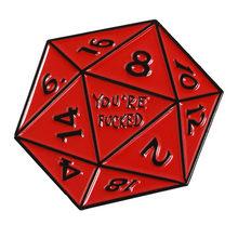 Naga dan Permainan Penjara Pin Naga Merah Logo Permainan Kerah Pin Lencana Polygon Merah Emas Perak Dadu Enamel Bros Kemeja tas Perhiasan(China)