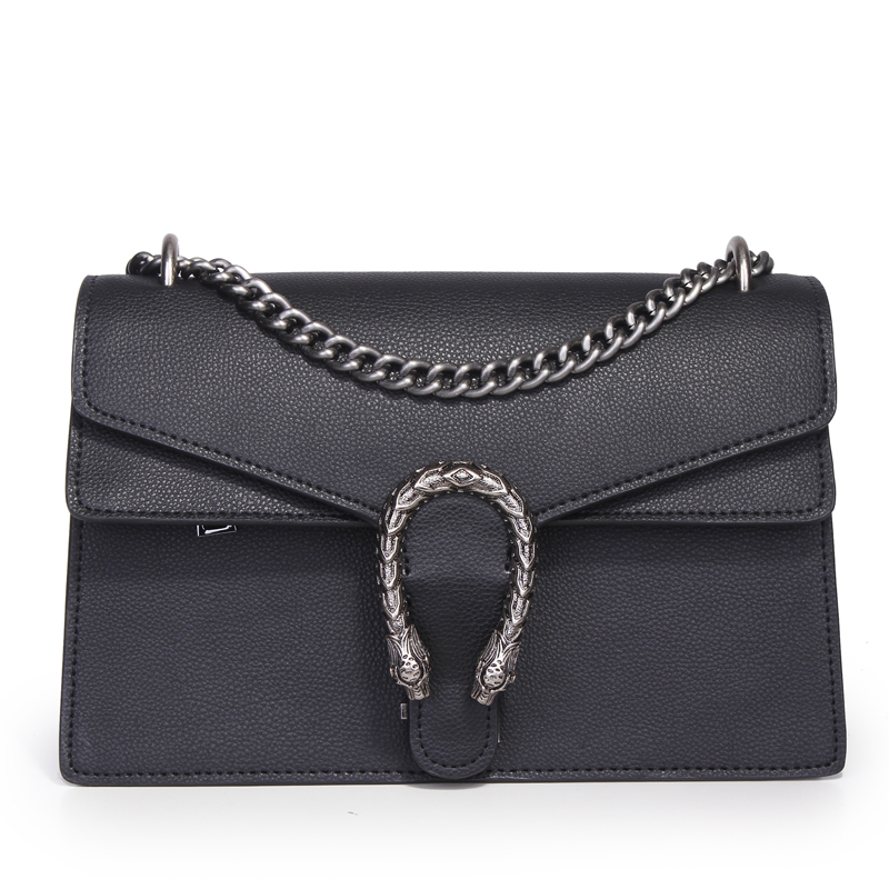 brand design Snake Head genuine leather chain bag first layer of cowhide single shoulde flap bag lady small black handbag<br><br>Aliexpress