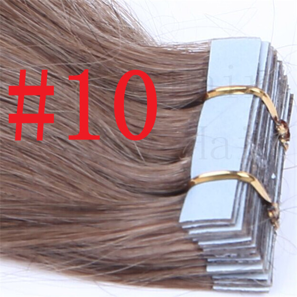 #10 30g/40g/50g/60g/70g 20pcs/pack 100%Remy Tape In Human Hair AAAGrade Brazilian Adhesive Skin Weft Tape Natural Hair Extension<br><br>Aliexpress
