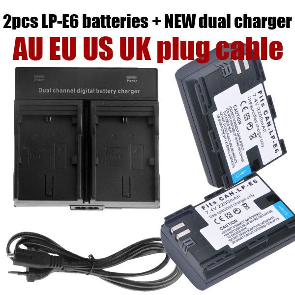 Total decoded 2pcs bateria lp e6 LP-E6 battery + dual charger cable set for Canon 5D Mark II Mark III 6D 7D 60D 60Da 70D DSLR(China (Mainland))