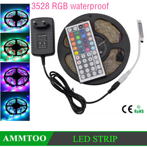 5m RGB 3528 SMD Flexible waterproof 300 LEDs Strip Light String Lighting + 44 key IR Remote Control+ 12V 3A Power adapter(China (Mainland))