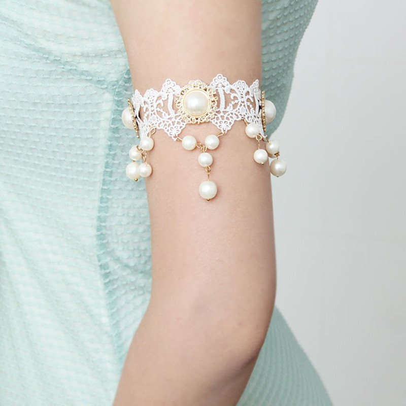 New Fashion 2015 Bride Bridesmaid Armbands Simple Lace Arm Bracelet Accessories for Women(China (Mainland))