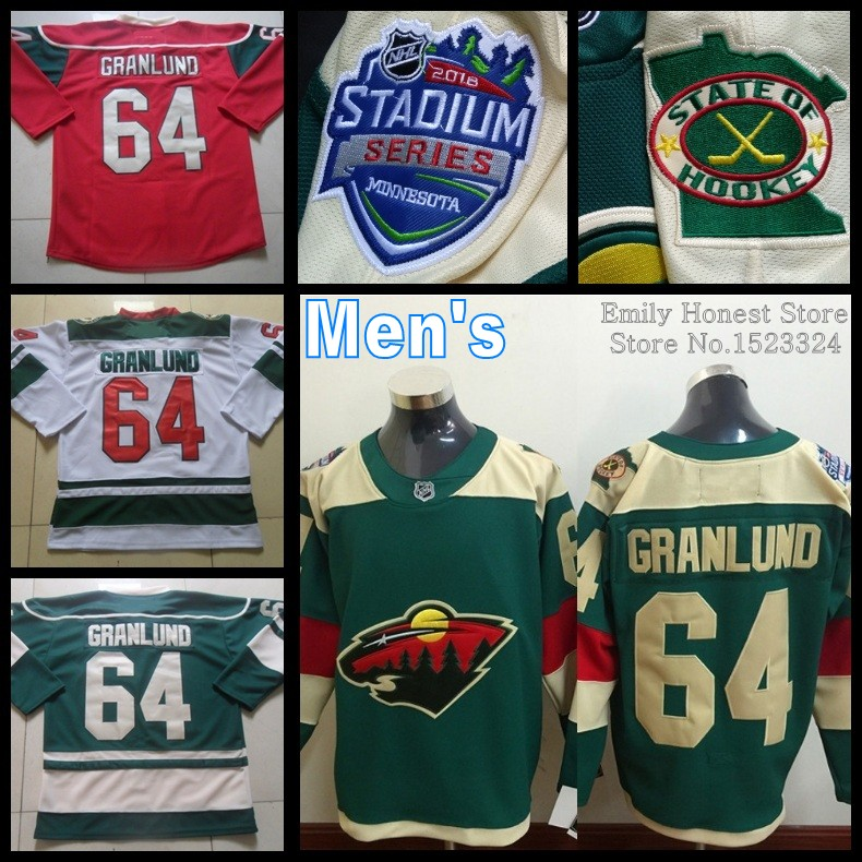 S-5XL 2016 Ice Hockey #64 Mikael Granlund jersey Minnesota Wild Stitched Custom jerseys Top Quality