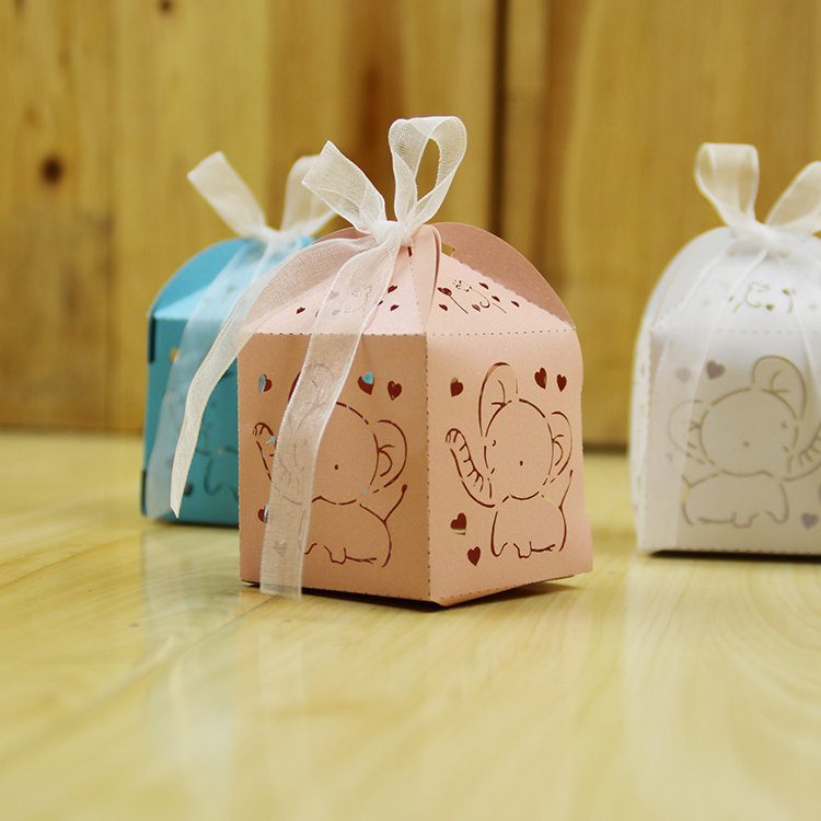50pcs cartoon elephant souvenirs baby shower birthday party decoration party supplies candy box chocolate box gifts for guests(China (Mainland))