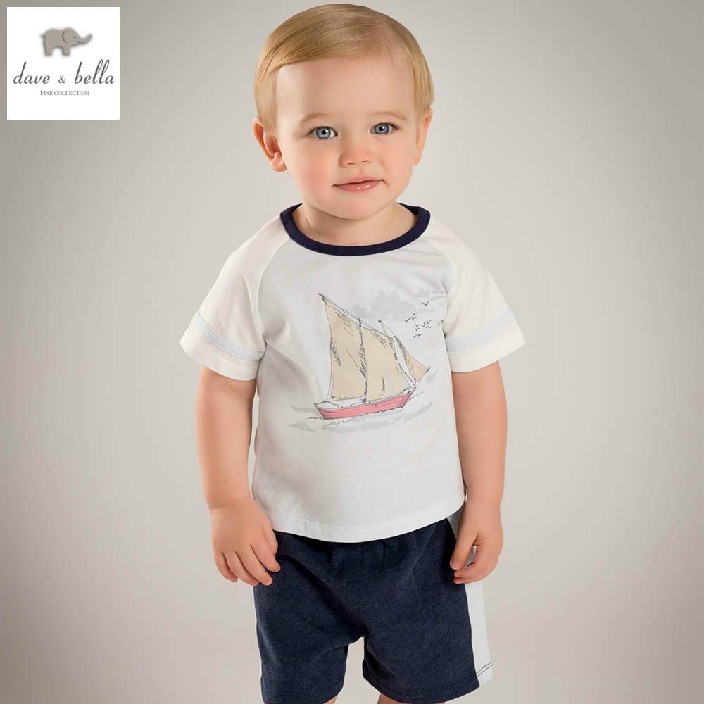 DB5222 dave bella summer baby boys O-Neck t-shirt sail short clothing set kids casual clothes boys cool soft clothing set(China (Mainland))