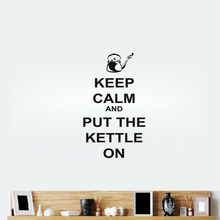Quotes Keep Calm and Put The Kettle On Kitchen Prompt Wall Sticker Pattern Art Mural Home Accessories Wall Decal For Kitchen