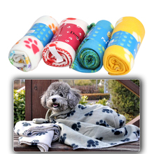 New Dog Cat Paw Print Handcrafted Pet  Soft Cotton Warm Fleece Pet Blanket Mat Cover for Puppy 60x70cm 6 Colors Free Shipping(China (Mainland))
