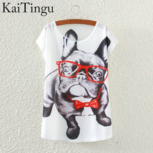 Buy KaiTingu 2016 Brand New Fashion Spring Summer Harajuku Short Sleeve T Shirt Women Tops Glasses Dog Printed T-shirt White Clothes for $5.38 in AliExpress store