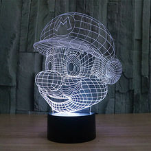 Free shipping Color changing 3D Cartoon Game Super Mario LED Night Lights with USB Cable of LED Mood Lamp For Child Toy