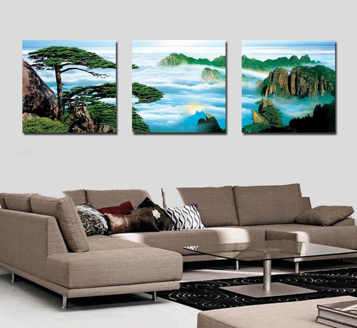 Pine Living Room Large Decorative Wall Hanging Combination Modern Paint----Q2 - wei bai's store