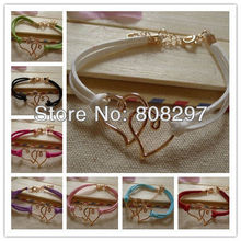 2013 Hot ! 10pcs Rose Gold / Sideways / Heart Connectors / Mixed Cords Handmade Charms Bracelet(China (Mainland))