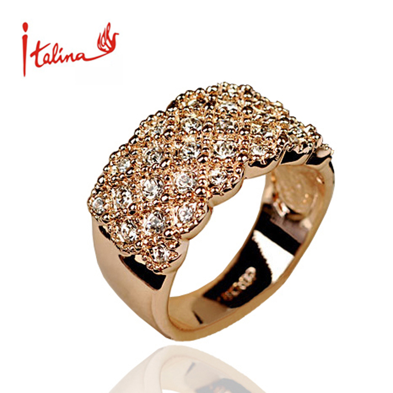 Italina CZ Diamond Jewelry wedding Rings for women 18K Rose Gold plated ring Crystals anel aneis femininos anillos bague gift(China (Mainland))