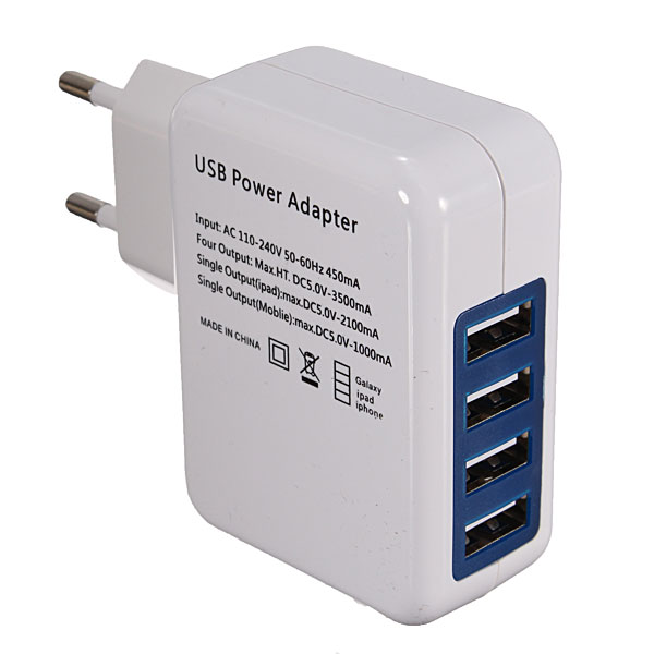 New EU 4 USB Port Power Adapter HUB EU Plug Wall Charger For iPhone for iPad for Galaxy(China (Mainland))