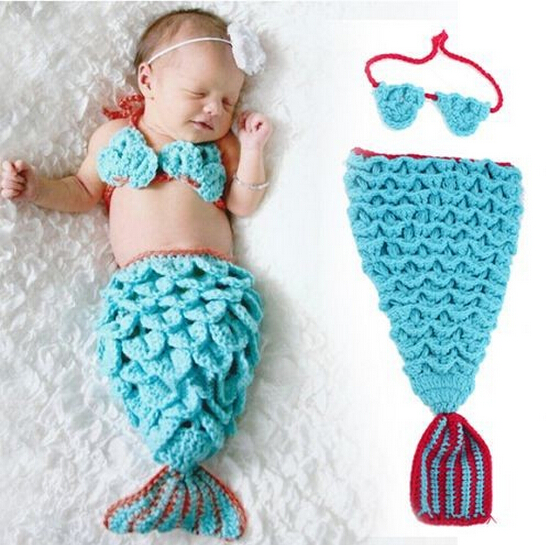 Cute Small Mermaid Newborn Photography Props Knitting Baby Hat Warm Baby Costume Photography Baby Crochet Clothes SY26(China (Mainland))