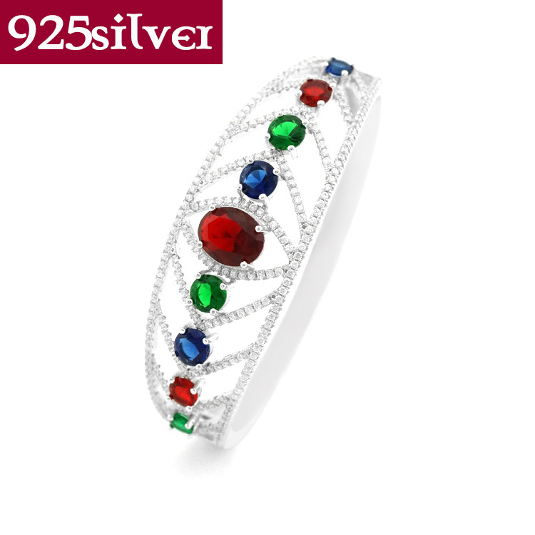 Brand New Luxury Bangles Jewelry For Women Genuine 925 Sterling Silver Jewelry Colorful Austrian Crystal Bracelets Bangles ZB020<br><br>Aliexpress