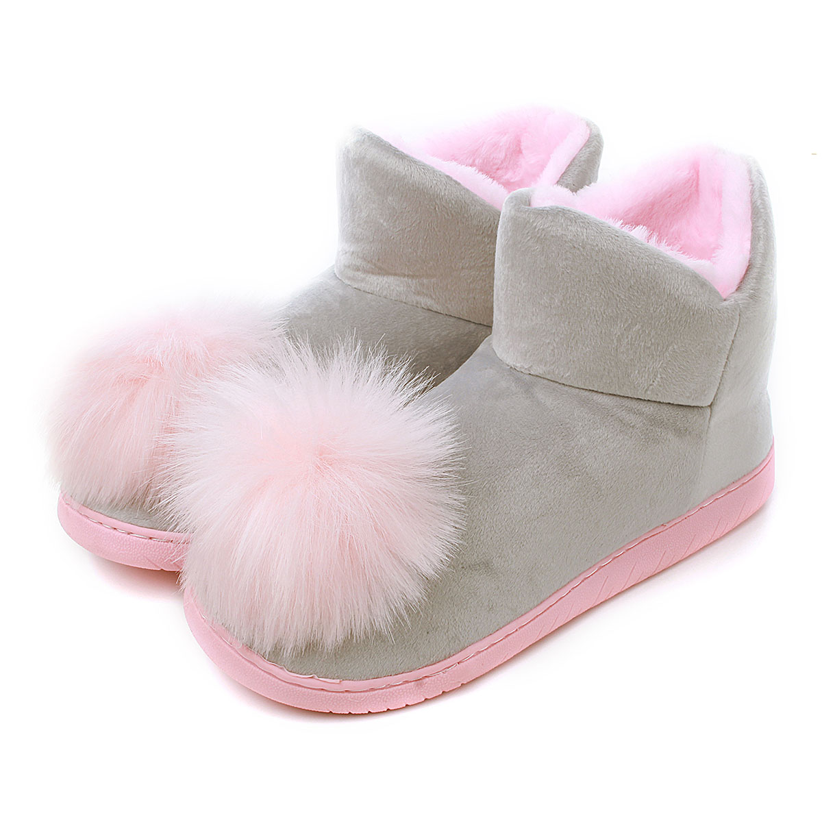 High Quality Lovely Ladies Crystal Plush Home Slippper Warm Boots Floor Boots Genuine Cony Hair Inner Balls Women Cotton Shoes(China (Mainland))