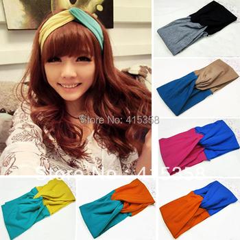 Girl's Two-tone Cross Kerchief Widened Crochet Head Hair Band Headwrap Headbands