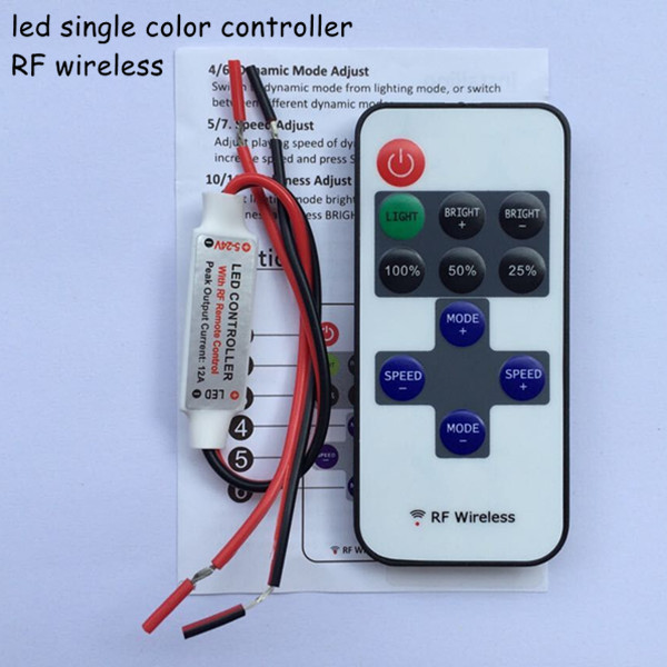 20pcs dc12V 24V wireless RF mini led single color dimmer 12v controller to control led strip smd3528 5050 lighting free shipping(China (Mainland))