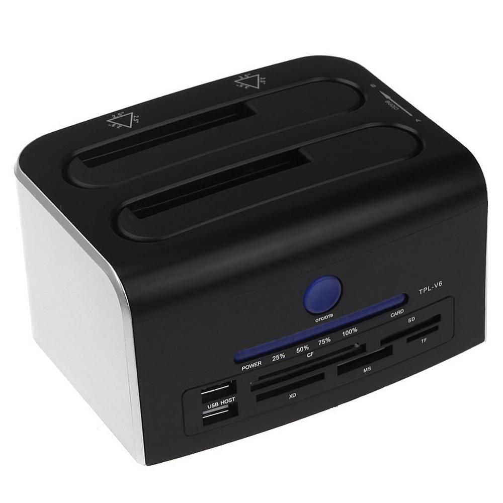 "YOC-2.5"" 3.5"" Dual SATA USB 3.0 HDD Dock Docking Station USB 2.0 Hub CF SD XD MS TF Card Reader US Plug(China (Mainland))"