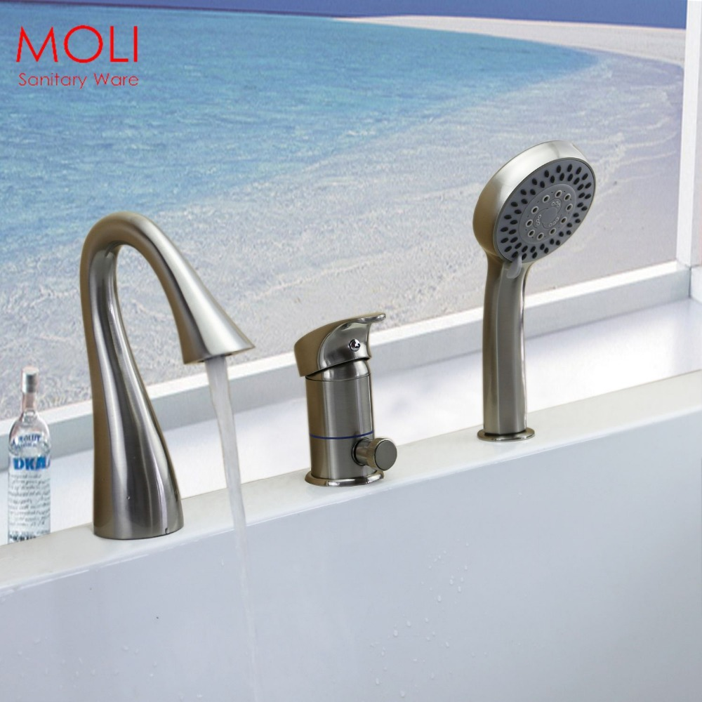 Deck Mounted 3 Pieces Bathtub Faucet Nickel Brushed Roman Tub Faucets Swan Sp