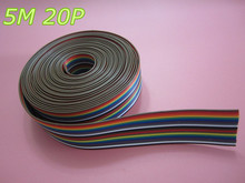 Free Shipping  5meters/lot  ribbon cable 20 WAY Flat Color Rainbow Ribbon Cable wire Rainbow Cable 20P ribbon cable 1.27MM pitch