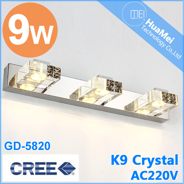 [HuaMei]9W Energy-saving Crystal LED Wall Lamp Bathroom Mirror Home Decor Light sconce Cool/Warm White Stainless Steel luminaire - Shenzhen huamei's store