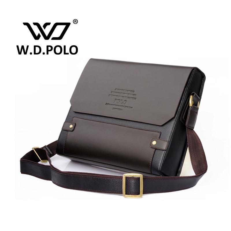 2016 W.D POLO Men Leather shoulder bag gentle men business handbags contract bags men messenger bag classical design M1640(China (Mainland))