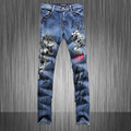 Men s personality tiger print jeans Male fashion slim fit denim pants Straight long trousers High